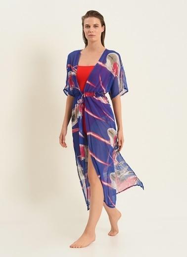Morhipo Beach Desenli Bağlamalı Kimono Mavi